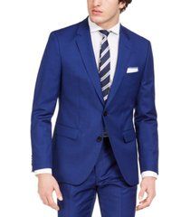 hugo men's modern-fit bold blue solid suit jacket