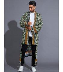 cárdigan de cachemira tribal con estampado de estilo étnico casual para hombre
