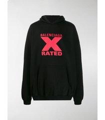 balenciaga x rated logo print hoodie
