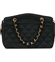 chanel pre-owned 1990s diamond quilted chain tote - black