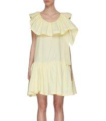 ruffle neck mini dress