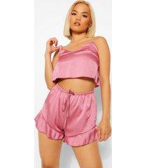petite satijnen hemd en shorts pyjama set, pink