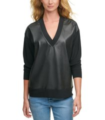 dkny faux-leather-front sweatshirt