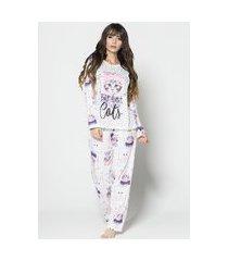 pijama feminino bella fiore modas manga longa e calça marrie branco