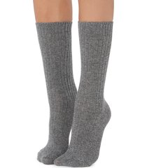 calzedonia - short ribbed socks with wool and cashmere, one size, grey, women