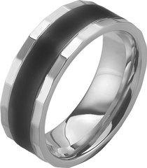 anello in acciaio bicolore per uomo
