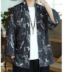 cárdigan de protección solar kimono de estilo japonés con estampado de plumas de pez animal para hombre