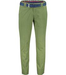 meyer broek oslo met riem groen stretch flatfront