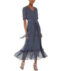 calvin klein belted polka dot peasant dress