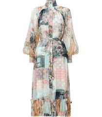 wavelength smock midi dress in patchwork floral