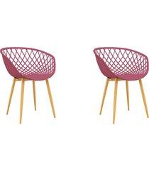 conjunto 02 cadeiras clarice cereja rosa