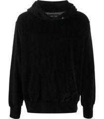 les tien light velour hoodie - black