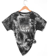 asymmetric beaded tie dye t-shirt