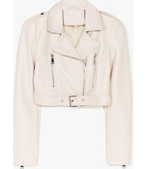 womens part time rocker cropped faux leather jacket - cream