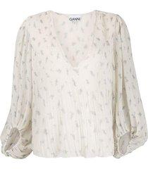 balloon sleeve pleated blouse