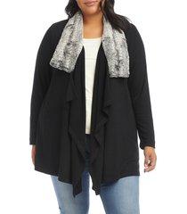 plus size women's karen kane faux fur collar knit jacket, size 2x - black