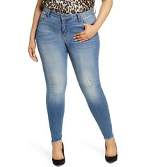 plus size women's kut from the kloth mia distressed toothpick skinny jeans, size 24w - blue