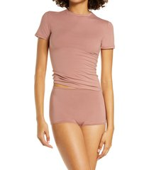skims stretch cotton tee, size large in rose clay at nordstrom