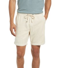 men's marine layer saturday beach cotton drawstring shorts, size small - beige