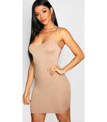 basic strappy cami bodycon dress, sand