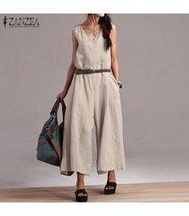 zanzea mujeres sin mangas casual baggy jumpsuit playsuit pantalones anchos para mujer -beige