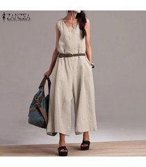 zanzea mujeres sin mangas casual baggy jumpsuit playsuit pantalones anchos para mujer -beige