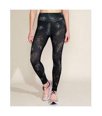 calça legging feminina esportiva ace cintura super alta estampada folhagem preta