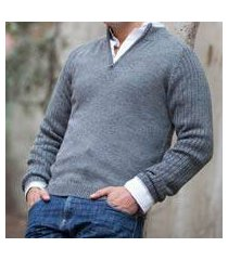 men's fitted alpaca blend sweater, 'gray fog secret' (peru)