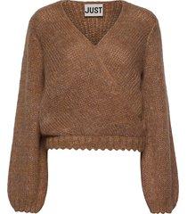 dolly wrap knit stickad tröja brun just female