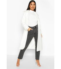 petite teddy faux fur oversized coat, ivory
