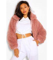 getextuurde faux fur teddy jas, poederroze