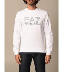 ea7 sweatshirt ea7 stretch cotton sweatshirt with big logo