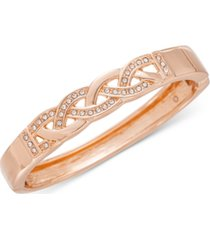 charter club rose gold-tone pave braided bracelet, created for macy's