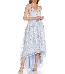 adrianna papell floral embroidery high low gown, size 4 in clearwater/ivory at nordstrom