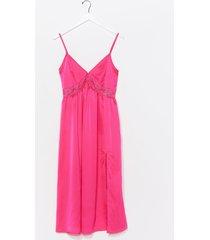 womens dream a little dream satin midi dress - hot pink