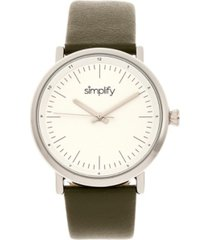 simplify quartz the 6200 white dial, genuine olive leather watch 39mm