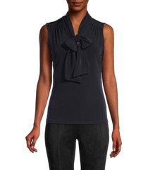 calvin klein women's sleeveless tieneck top - navy - size m