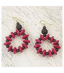 wood dangle earrings, 'bloom in magenta' (ghana)