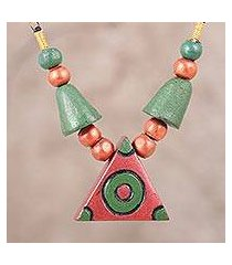 coconut shell pendant necklace, 'dancing rock' (india)
