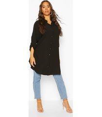 woven long line shirt, black