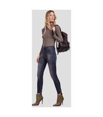 calca basic skinny high fenda com strass jeans - 34