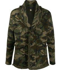 alanui camouflage pattern fringe jacket - green