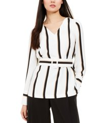 alfani striped belted top, created for macy's