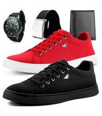 kit 2 pares de sapatênis dhl masculino vermelho e preto + relógio + cinto e carteira