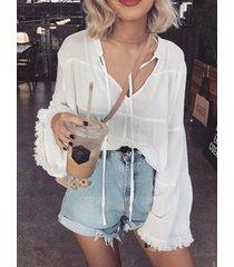 yoins blusa blanca de manga larga con cuello en v diseño
