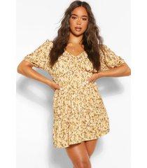 gesmokte jurk met ruches, laagjes en strik, mosterd