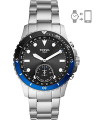fossil men's fb-01 stainless steel bracelet hybrid smart watch 42mm