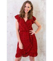 cheetah ruffle jurk rood