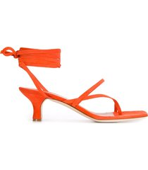 paris texas wrap tie low sandals - orange