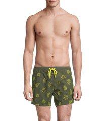 boss hugo boss men's white shark cactus embroidery swim shorts - dark green - size l